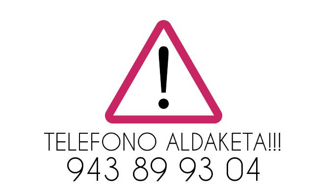 INSTITUTUKO  TELEFONO  ZENBAKIAREN  ALDAKETA!